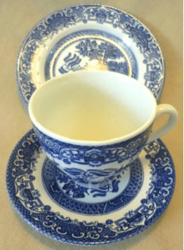 Vintage Ceramics - English Ironstone Old Willow Pattern Trio - Cup ...
